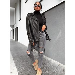 Zara Oversized Genuine Leather Biker Jacket